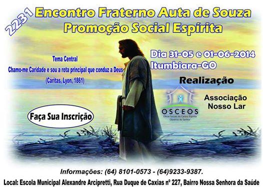 Cartaz Encontro Fraterno Auta de Souza em Itumbiara - 2014