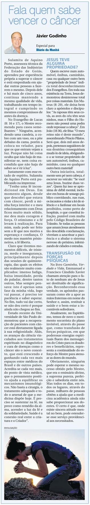 Fala quem sabe vencer o cancer - Javier Godinho - 14-05-2014