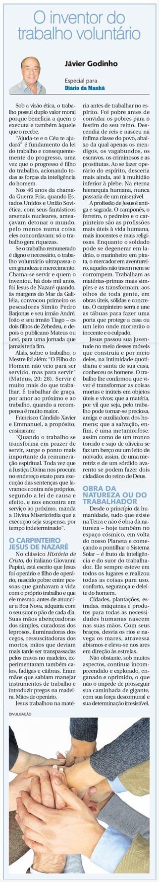 O inventor do trabalho voluntario - Javier Godinho - 30-04-2014