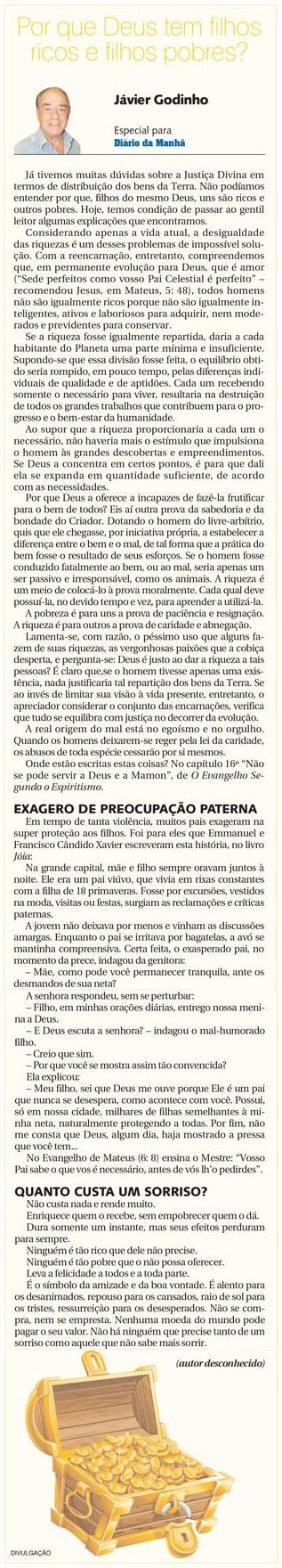 DM 16-07-2014 - Por que Deus tem filhos ricos e filhos pobres - Jávier Godinho