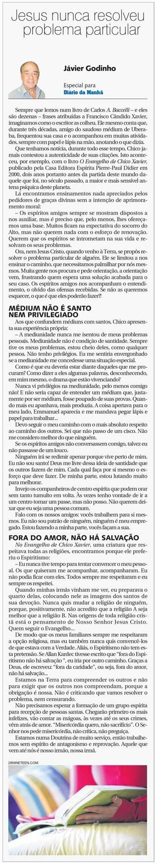 DM 10-09-2014 - Jesus nunca resolveu problema particular - Jávier Godinho