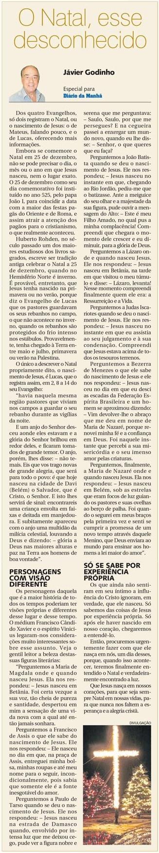 DM 03-12-2014 - O Natal, esse desconhecido - Jávier Godinho