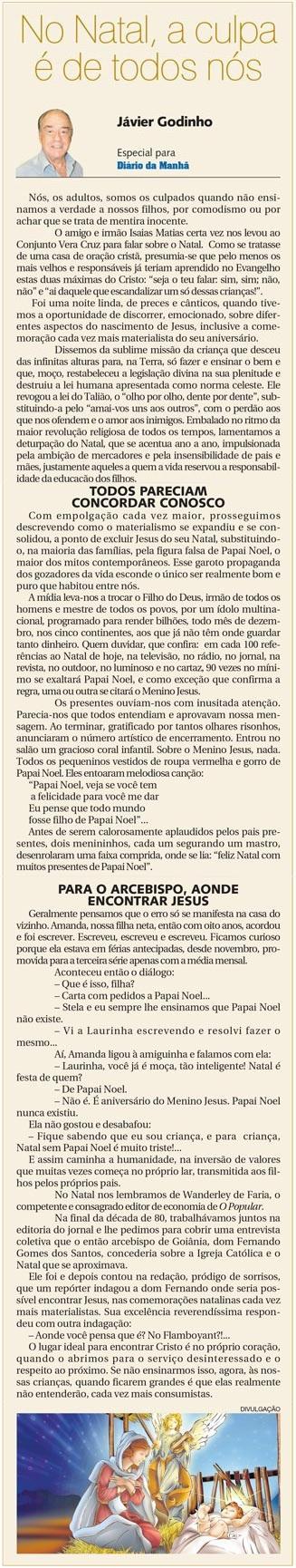 DM 10-12-2014 - No Natal, a culpa é de todos nós - Jávier Godinho