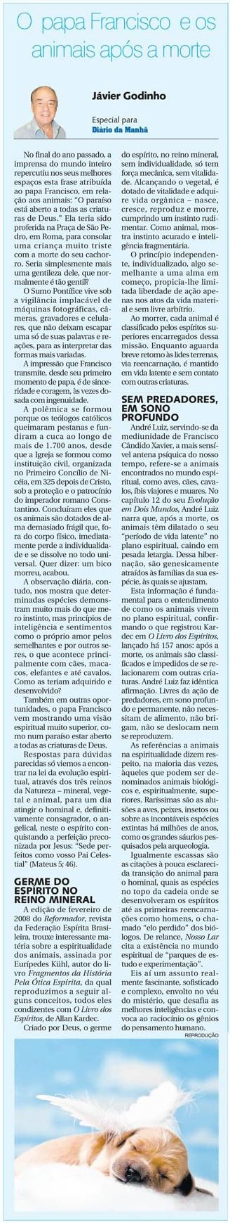 DM 07-01-2015 - O papa Francisco e os animais após a morte - Jávier Godinho