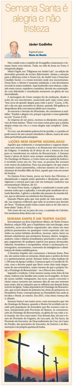 DM 01-04-2015 - Semana Santa é alegria e não tristeza - Jávier Godinho
