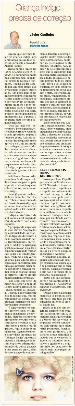 DM 04-03-2015 - Criança índigo precisa de correção - Jávier Godinho