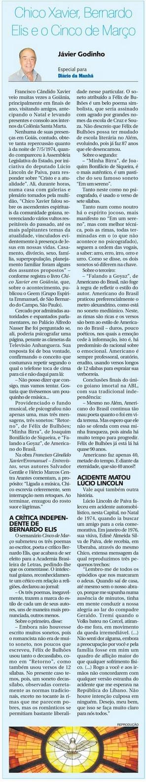 DM 11-02-2015 - Chico Xavier, Bernardo Eliz e o Cinco de Março - Jávier Godinho