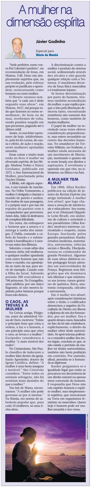 DM 11-03-2015 - A mulher na visão espírita - Jávier Godinho