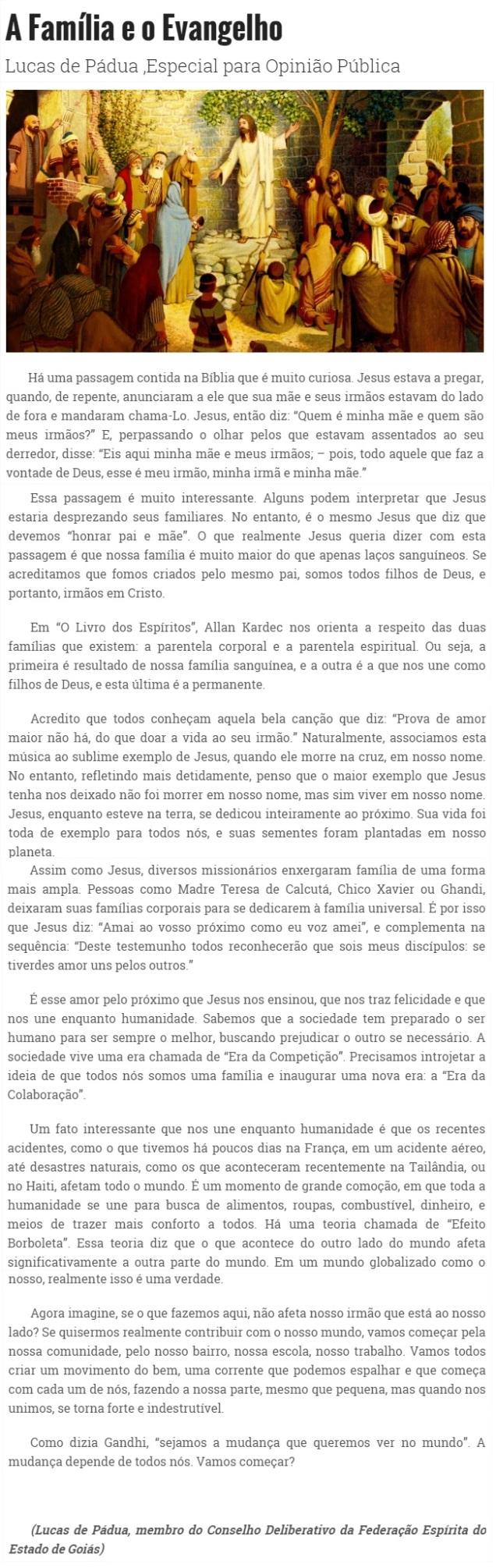 DM 13-04-2015 - A família e o Evangelho - Lucas de Pádua