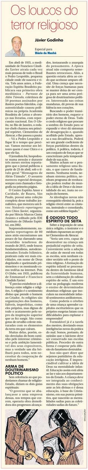 DM 25-02-2015 - Os loucos do terror religioso - Jávier Godinho