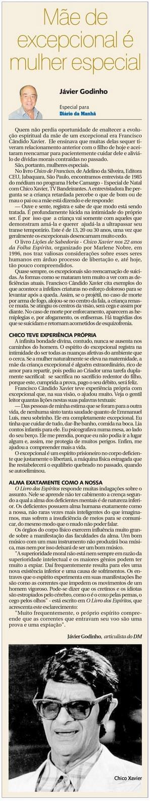DM 25-03-2015 - Mãe de excepcional é mulher especial - Jávier Godinho