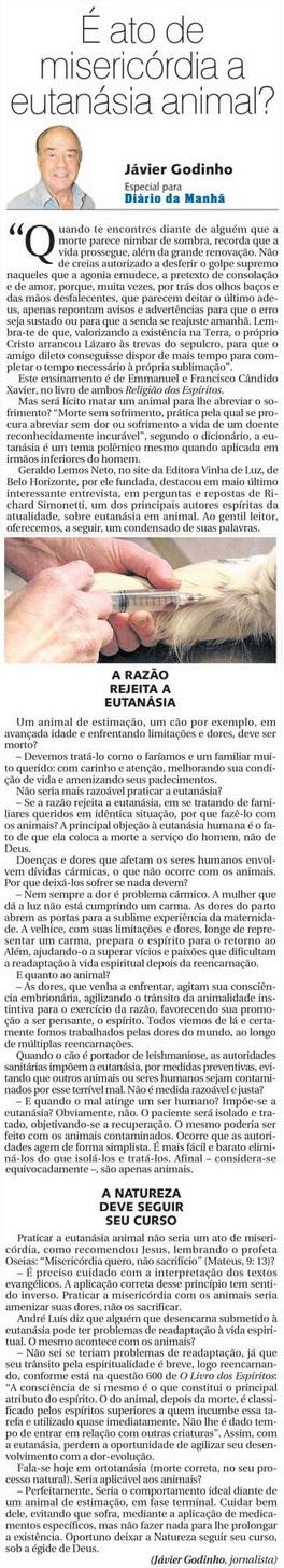 DM 01-07-2015 - É ato de misericórdia a eutanásia animal- Jávier Godinho